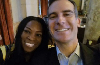 Judy Harris and Mayor Eric Garcetti